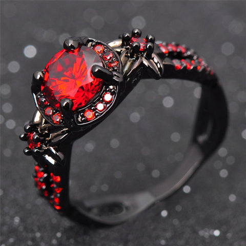 Flower Shiny Red Ring Charming Engagement Jewelry Black Gold Filled