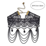 Victorian Crystal Tassel Choker Necklace Black Lace