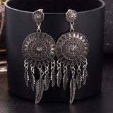 Dream Catcher Hollow Leaf Feather Earrings