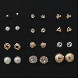 12 pairs sets Round Square Ball Alloy Crystal Stud Earrings