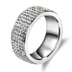 5 Rows Crystal Stainless Steel Ring Full Finger