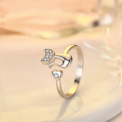 Open Cat Ring With Love Heart
