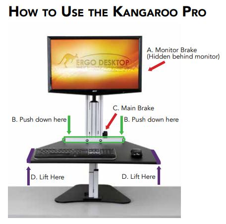 Excellent Ergo Desktop Single Monitor Standing Desk Kangaroo Pro Ed Kp Home Interior And Landscaping Analalmasignezvosmurscom