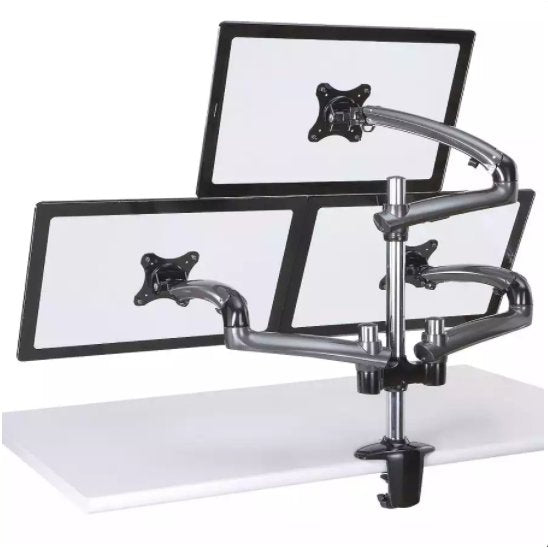 Fabulous Cotytech Triple Monitor Desk Mount W Spring Arms Dark Gray Dm Gmt13 Home Interior And Landscaping Elinuenasavecom