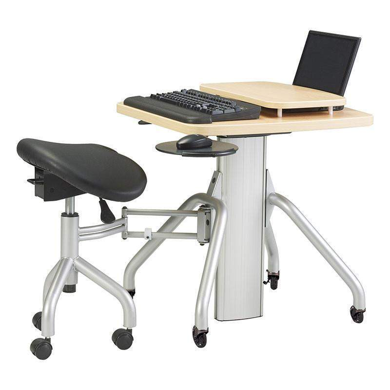 Gas Lift Height Adjustable Mobile Laptop Desk With Saddle Seat
