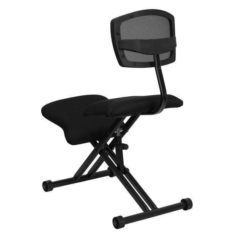 Excellent Stup Desk Ergonomic Kneeling Chair With Back In Black Mesh And Fabric Pabps2019 Chair Design Images Pabps2019Com