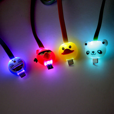 LED Cartoon Micro-USB charge Cable For Samsung S5 S6 HTC M8