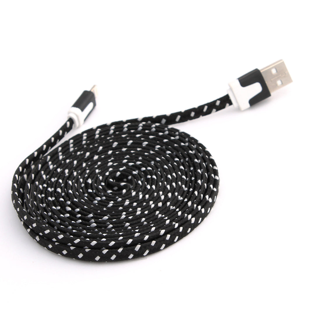 3 Metre Braided Fabric 8Pin USB Flat Charger Cable For Apple iPhone 5/5S/6 iOS 9