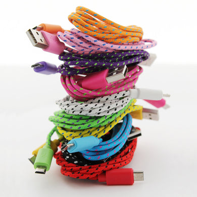 1 Metre 3 ft Braided Fabric microUSB Charger Cable For Samsung Nokia LG
