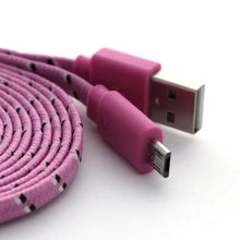 2 Metre 6 ft Braided Fabric Flat microUSB Charger Cable For Samsung Nokia LG