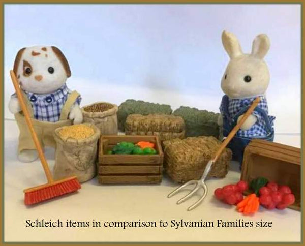 Schleich accessories used with Sylvanian Families farmyard scenes