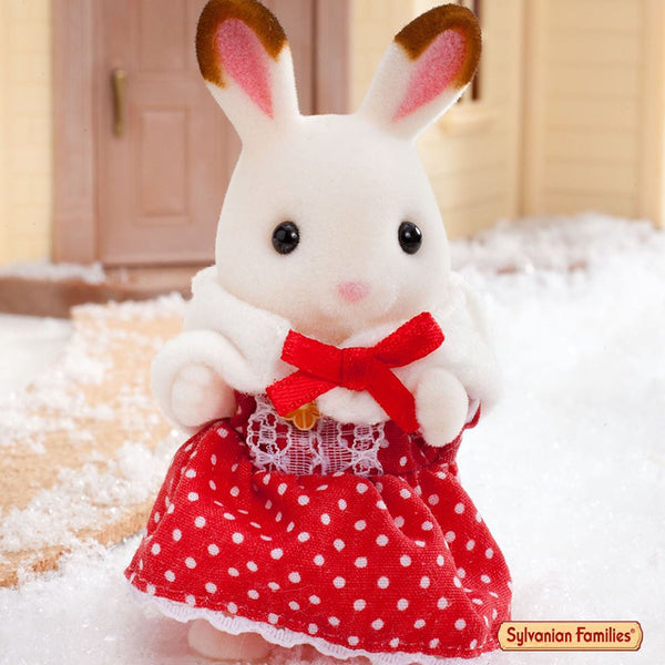 Sylvanian Families Red Dress in snow winter