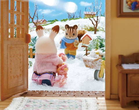 Sylvanian Families winter outside looking out