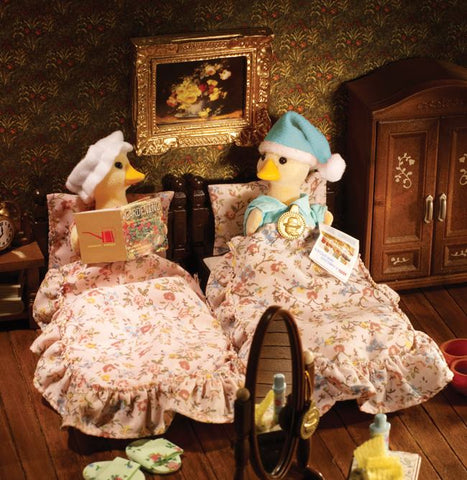 Sylvanian Families Ducks in double bed vintage
