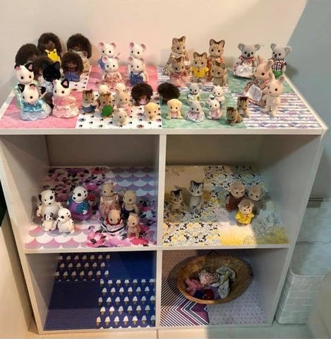 Sylvanian Families decorated shelf with craft paper