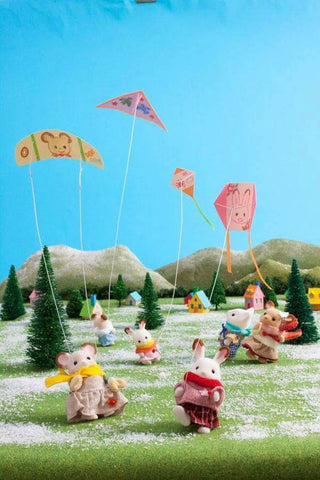 Sylvanian Families kite flying on a cold winter day in Sylvania
