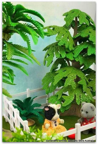 Sylvanian Families Cow and Evergreen bear playing ball on front lawn  Trees