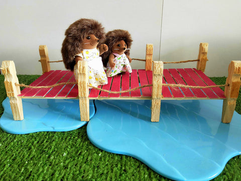 Sylvanian Families creek and handmade bridge diy