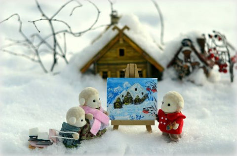 Sylvanian Famlies winter painting snow scene