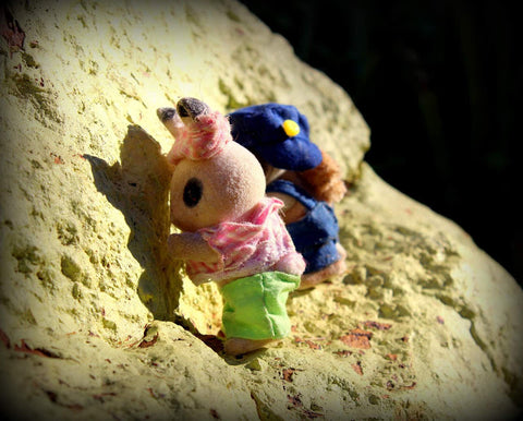Sylvanian FAmilies Abseiling on rock face
