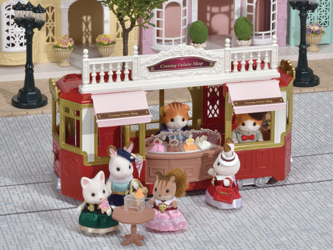 Sylvanian FAmilies Tram as the Gelato shop