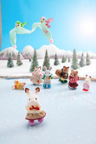 Sylvanian Families ice skating in winter scene