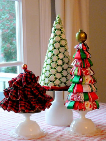 Christmas trees from fabric, ribbons and lollies