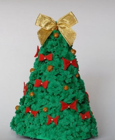 DIY craft Christmas tree fabric and bows