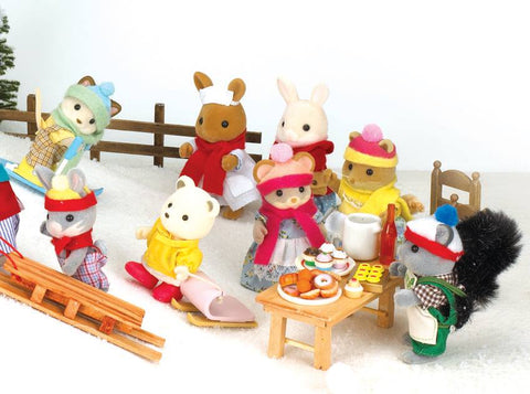 Sylvanian Families winter outdoors with family friends