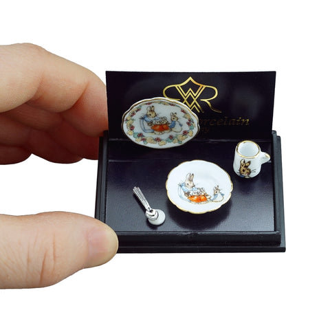 Miniature Peter Rabbit breakfast porcelain ceramic set dollhouse