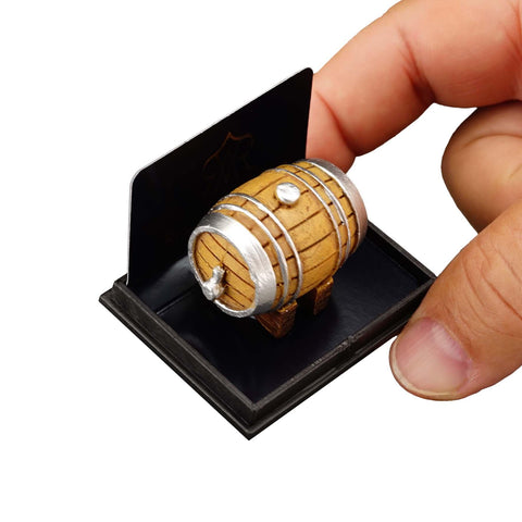 Miniature dollhouse scene beer keg wine barrel