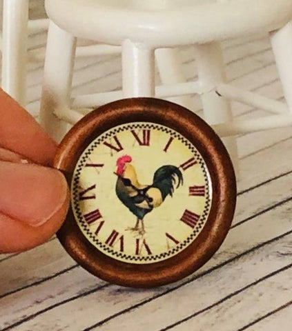 Dollhouse miniature rooster clock