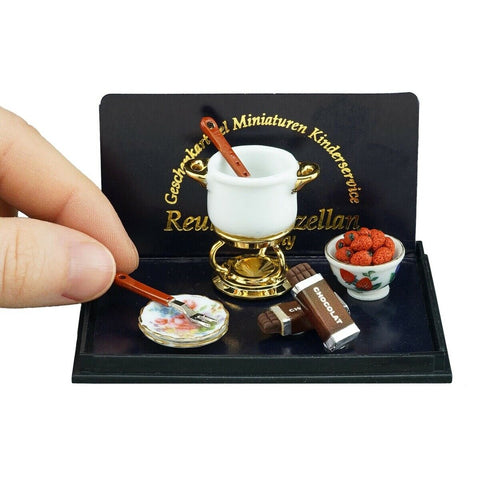 Reutter porcelain miniature chocolate fondue set