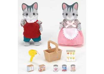 Sylvanian Famlies Gray Cat Store keeper owners