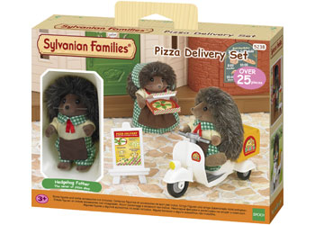 Sylvanian Families Hedgehog pizza delivery driver with scooter