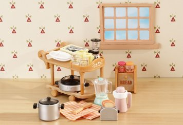 Sylvanian Families kitchen trolley and accesories