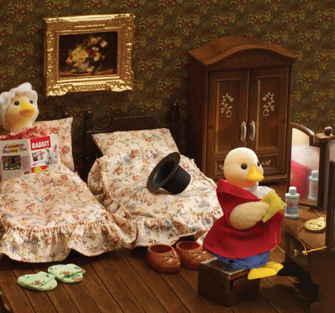 Sylvanian Families Mayor Waddlington gets ready for bed