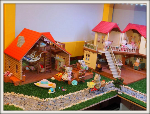 Sylvanian Families village scene display table