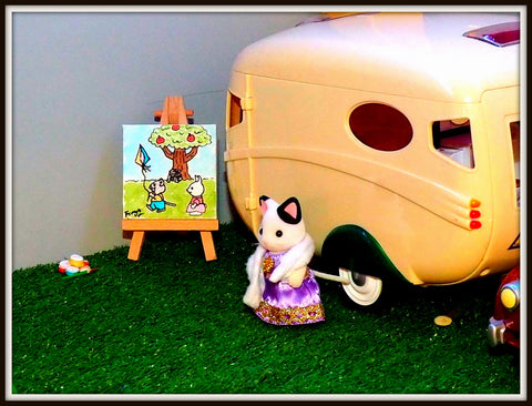 Sylvanian Families Caravan and art work