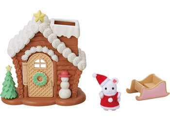 Sylvanian Families Gingerbread iced cottage MArshmallow mouse Santa
