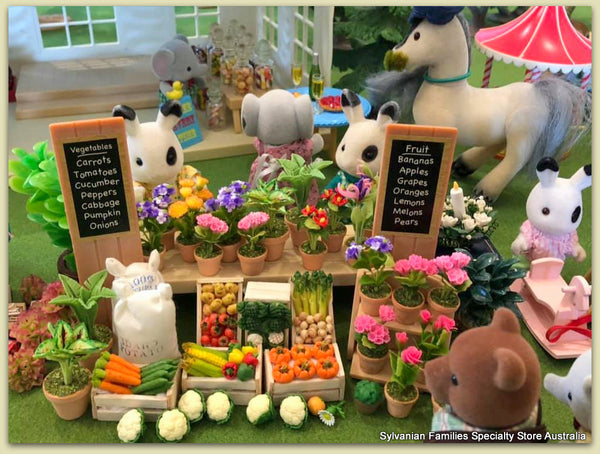 Sylvanian Families market day flower stall vegetable garden horses