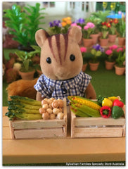 Dollshouse miniature vegetables in wood crate Sylvanian Squirrel