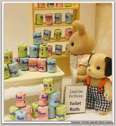 Shopping for Toilet paper rolls supermarket Sylvanian Families