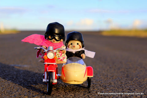 Sylvanian Families Motorcycle with sidecar outdoors Calico Critters