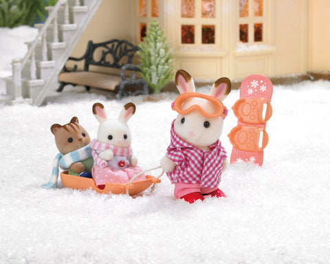 Sylvanian Families Winter outdoor ski toboggan set