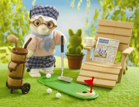 Sylvanian Families Grandfather Golfing set playing golf