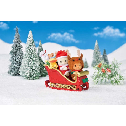 Sylvanian Families Sleigh Set with REindeer baby babies