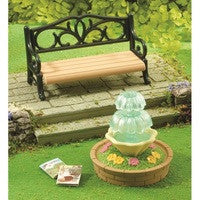 Ornate Garden Bench & Fountain
