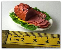 Miniature Dollshouse Christmas Ham polymer clay