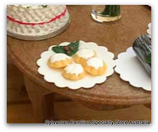 Dollshouse miniature Christmas mince pies cakes on plate holly